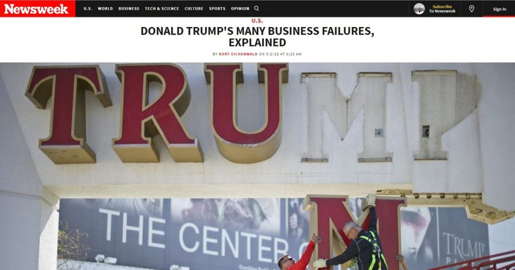 trump business failures