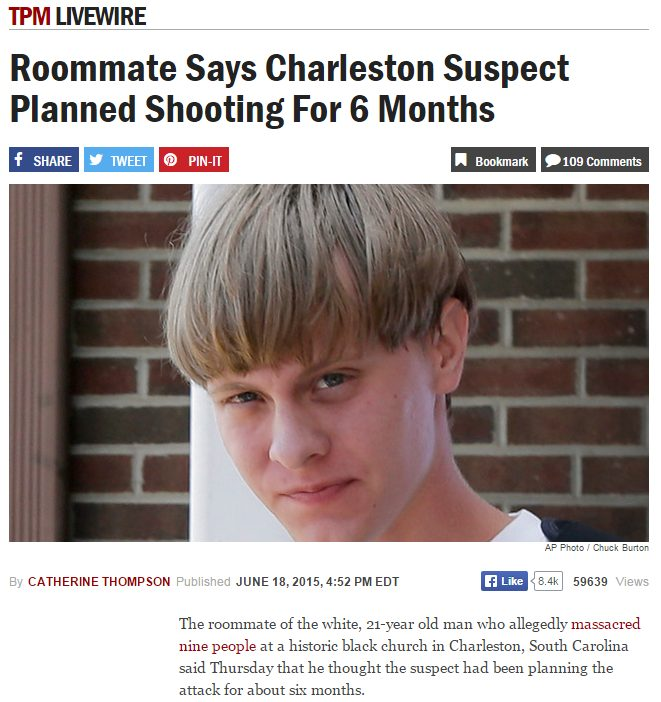 roommate says charleston suspect planned