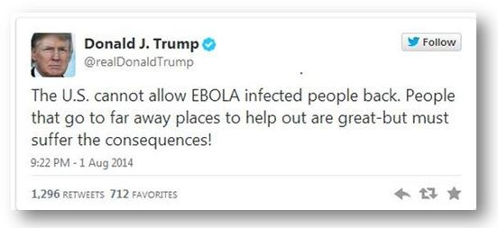 Trump Tweet US Cannot Allow Ebola