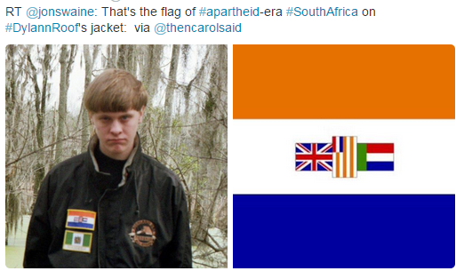 tweet apartheid flag