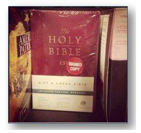 holy bible signed copy